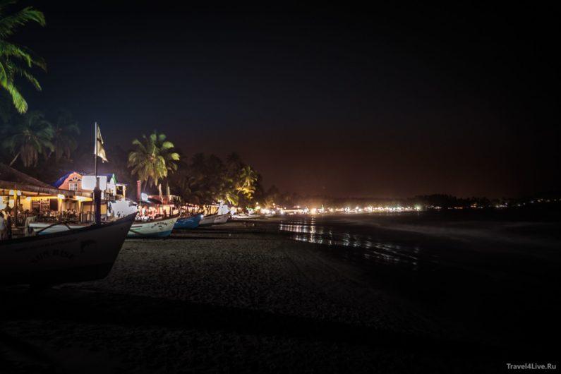 Пляж Палолем, Южное Гоа ночью