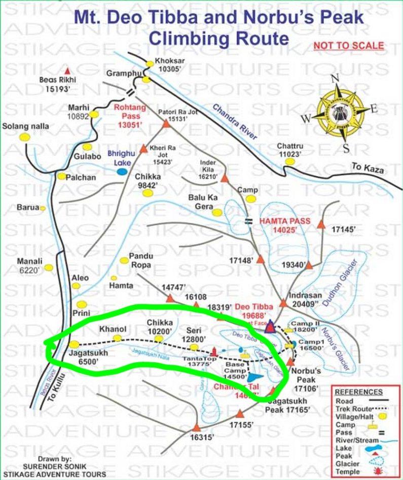 Схема нашего маршрута треккинга в Манали, Перевал Хампта