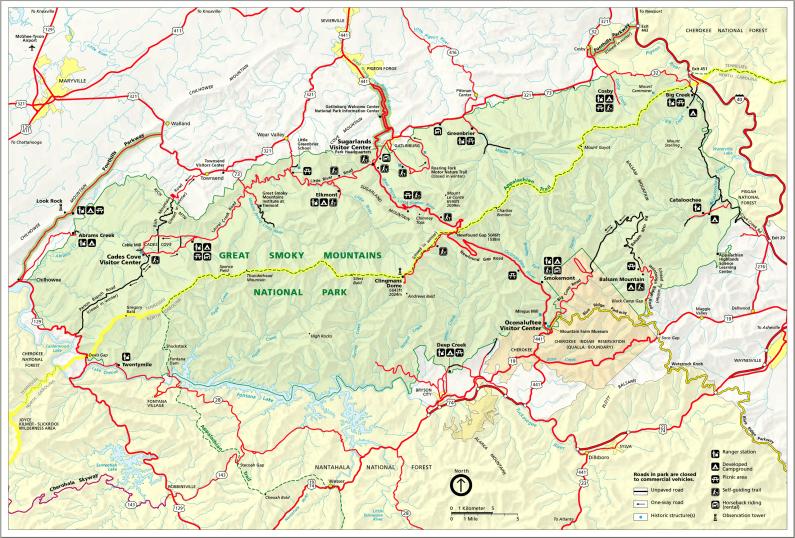 Карта Парка Грейт-Смоки-Маунтинс