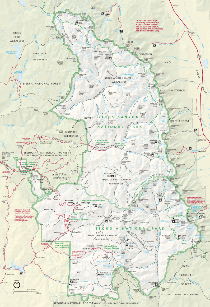 Карта Парка Секвойя