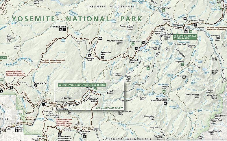 Йосемите - карта парка